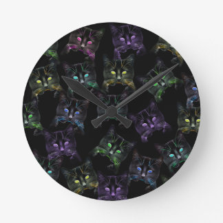 Cool Cats on Black! Multi-colored Cats Wallclock