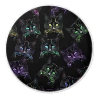 Cool Cats on Black! Multi-Colored Funky Cats. Ceramic Knob