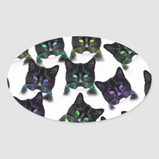 Cool Cats Oval Sticker