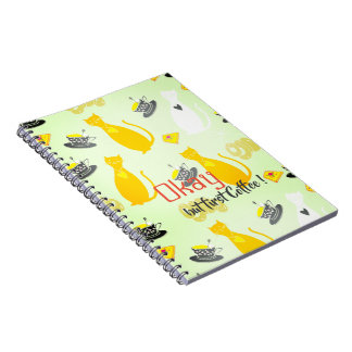 Cool cats with coffee note book