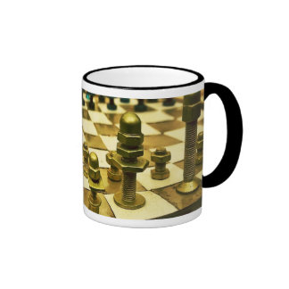 Cool Chess Board with Nuts and Bolts Ringer Coffee Mug