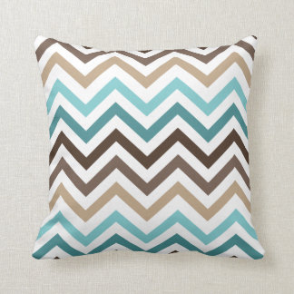 Cool Chevron Pattern Zig Zag Blue Brown Throw Pillow