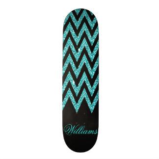 Cool chevron zigzag peacock blue  faux glitter skate board deck