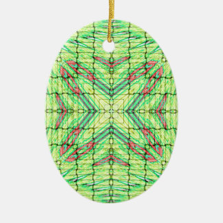 Cool Chic Lime Green X Marks the Spot Ceramic Oval Ornament
