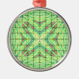 Cool Chic Lime Green X Marks the Spot Silver-Colored Round Ornament