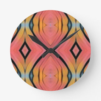 Cool Chic Peach Pink Kaleidoscope Pattern Wallclocks