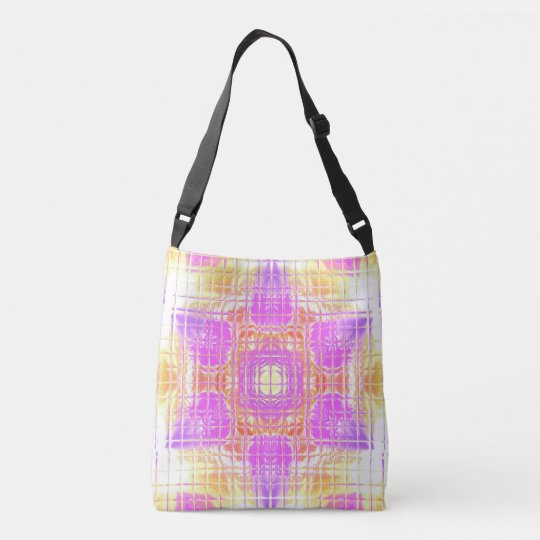 Cool Chic Pink  Lavender Yellow Mosaic Pattern Crossbody Bag