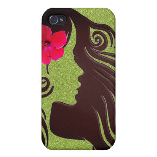 Cool Chic Retro Girly Green Flower phone case. Case For The iPhone 4