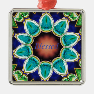 Cool Chic Turquoise Rose 'Blessed' Mandala Silver-Colored Square Ornament