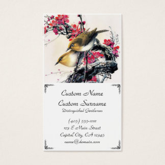 Cool chinese beautiful brown bird red cherry tree business card