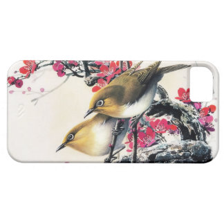 Cool chinese beautiful brown bird red cherry tree iPhone 5 case