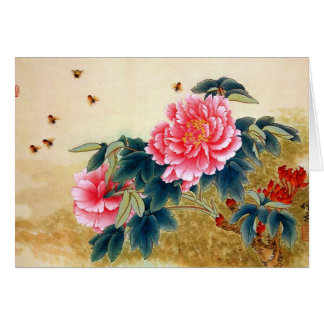 Cool chinese classic watercolor pink flower bee card