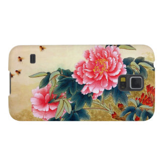 Cool chinese classic watercolor pink flower bee case for galaxy s5
