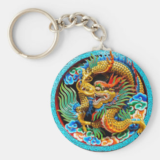 Cool chinese colourful dragon lotus flower art keychain