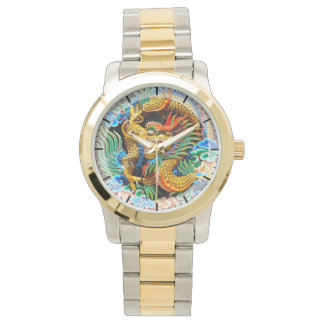 Cool chinese colourful dragon lotus flower art wristwatch