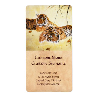 Cool chinese fluffy tiger rest sunset art shipping label