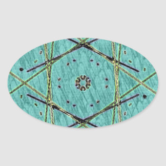 Cool Chip Modern Turquoise Pattern Oval Sticker