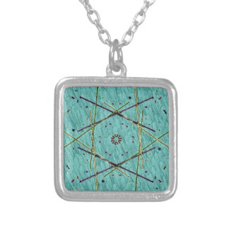 Cool Chip Modern Turquoise Pattern Silver Plated Necklace