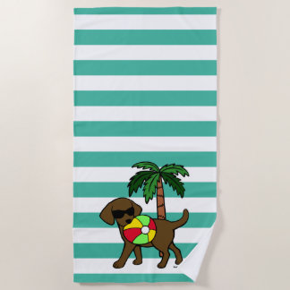 Cool Chocolate Labrador Sunglasses Beach Towel
