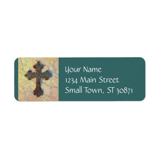 Cool Christian Cross Circle Mosaic Pattern Return Address Label