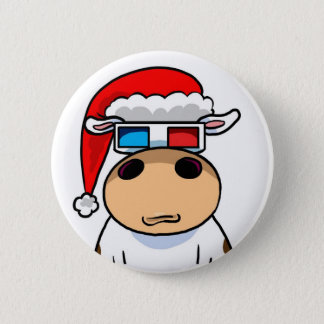 Cool Christmas Cow 2 Inch Round Button