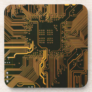 Cool Circuit Board Computer copper and black Beverage Coasters