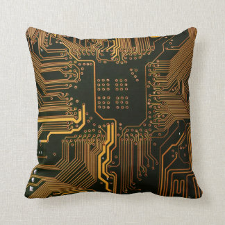 Cool Circuit Board Computer copper and black Throw Pillow