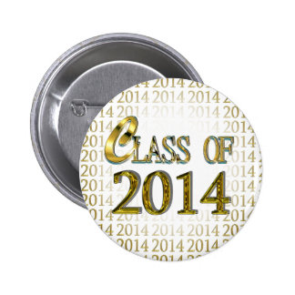 Cool Class Of 2014 Gold Graduation Button Pin