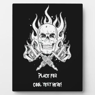 Cool Classic Elegant Black White Skull tattoo Plaque