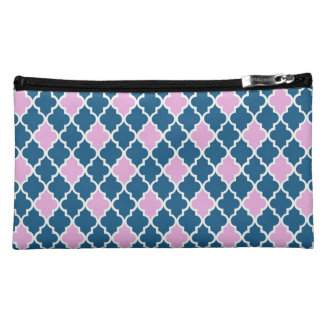 Cool, classic, modern, trendy pink and navy blue cosmetic bag