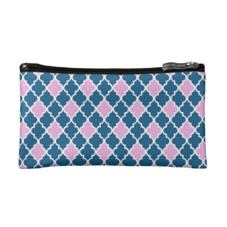 Cool, classic, modern, trendy pink and navy blue makeup bag