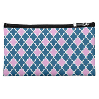 Cool, classic, modern, trendy pink and navy blue makeup bags