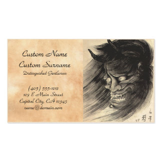 Cool classic vintage japanese demon head tattoo business card