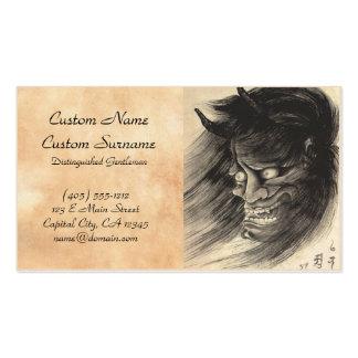 Cool classic vintage japanese demon head tattoo business card
