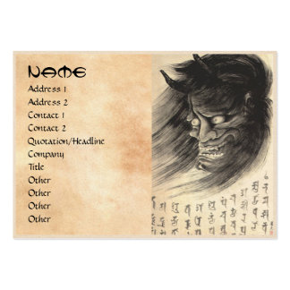 Cool classic vintage japanese demon head tattoo large business card