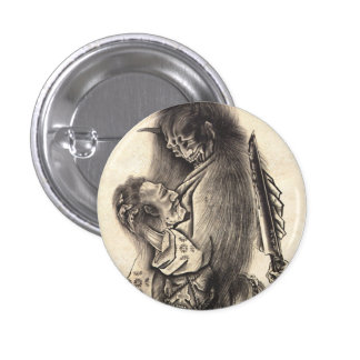 Cool classic vintage japanese demon ink tattoo button