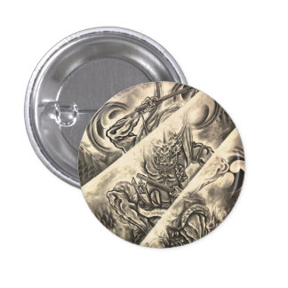 Cool classic vintage japanese demon ink tattoo pinback buttons