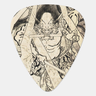 Cool classic vintage japanese demon ink tattoo guitar pick
