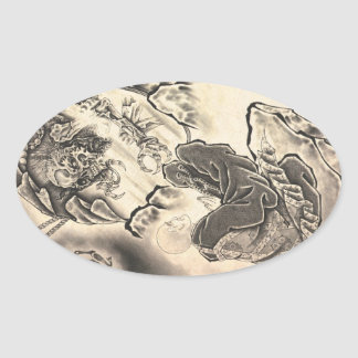 Cool classic vintage japanese demon monk tattoo oval sticker