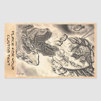 Cool classic vintage japanese demon monk tattoo rectangular sticker