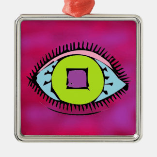 Cool Colorful Abstract Eye Design Fuchsia Metal Ornament