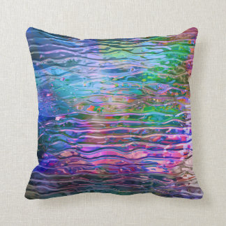 Cool Colorful Abstract Melting Glass Throw Pillow