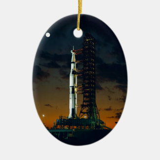 Cool Colorful Apollo Moon Mission at Launchpad Ceramic Oval Ornament