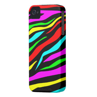 Cool Colorful/Black Zebra Print - iPhone 4/4s Case