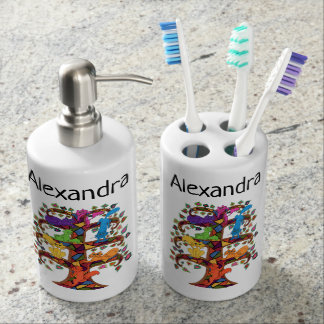 Cool Colorful Boho Mosaic Tree Cats Monogram Name Soap Dispenser And Toothbrush Holder