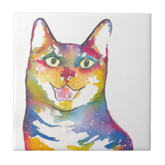 Cool colorful cat ceramic tile