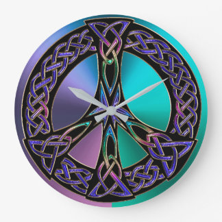 Cool Colorful Celtic Knot Peace Sign Clock