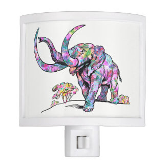 Cool Colorful Elephant Vintage Illustration Nite Lites