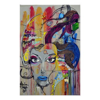 Cool colorful graffiti of women poster