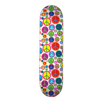 Cool Colorful Groovy Peace Symbols Custom Skate Board